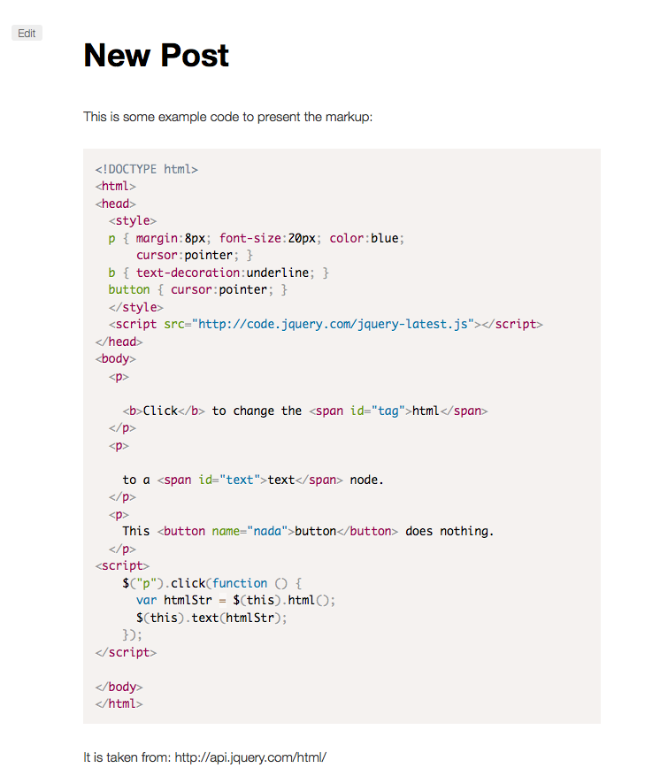 Code highlighting in the frontend