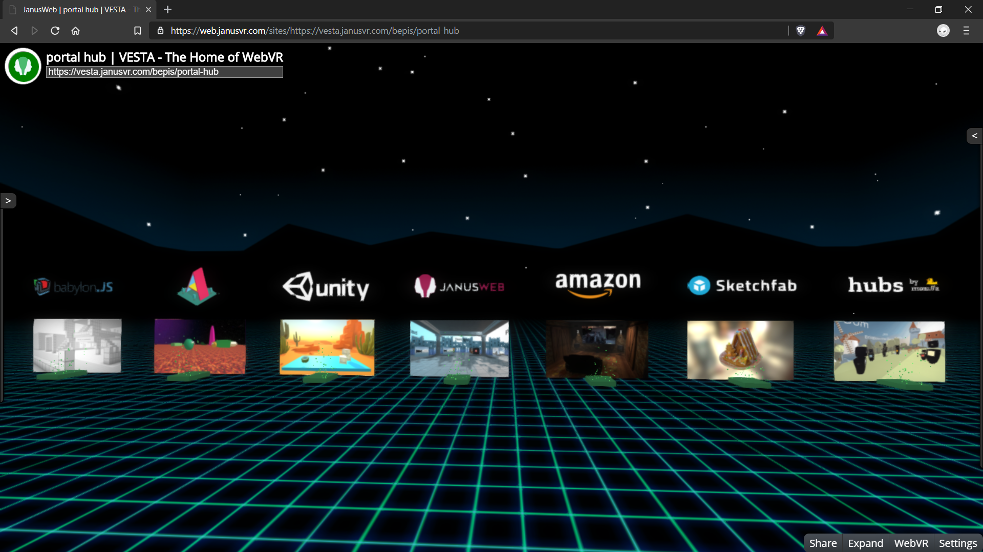 Portal hub linking to various other WebVR based worlds