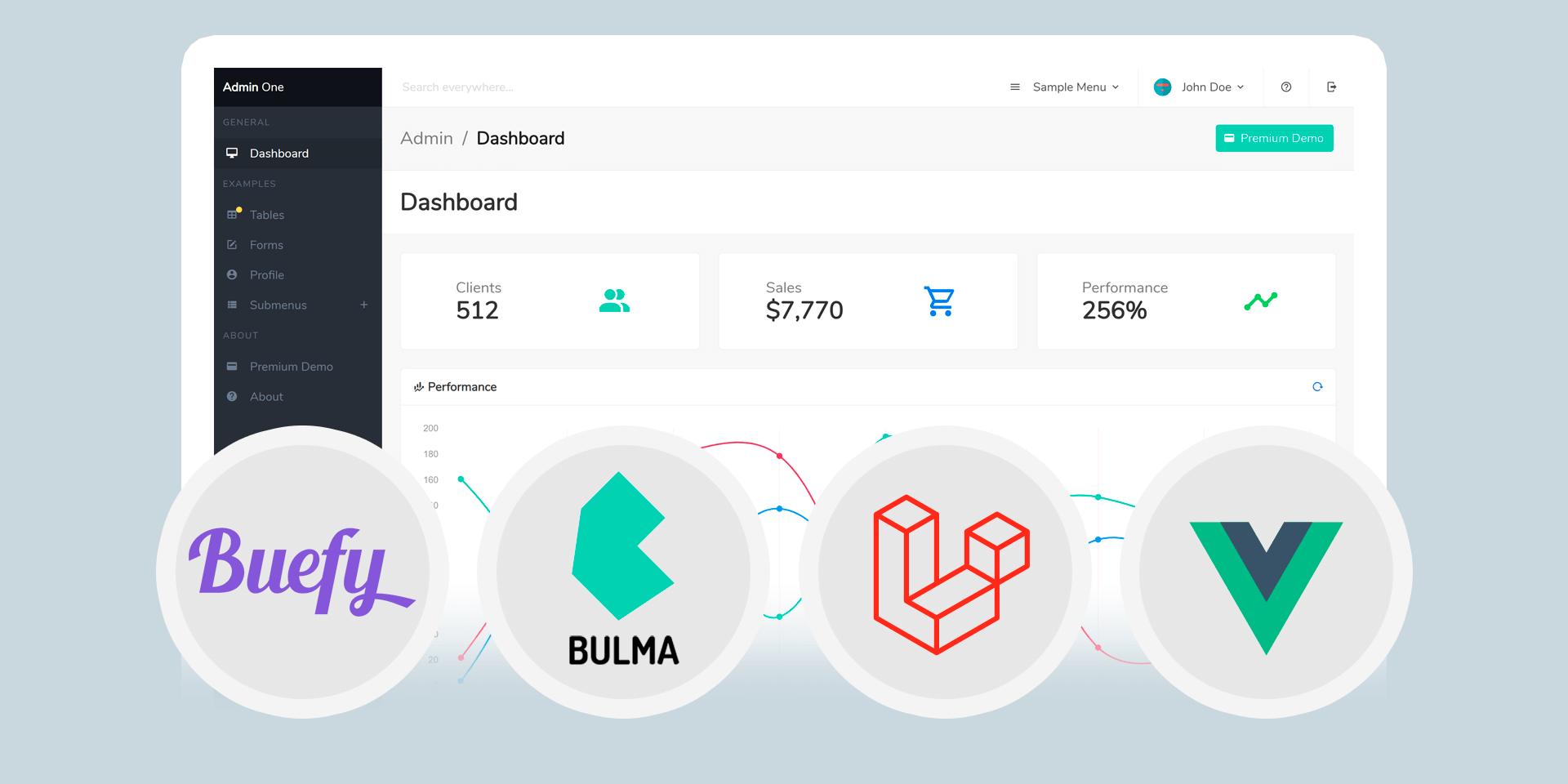 Laravel Vue.js Bulma free admin dashboard