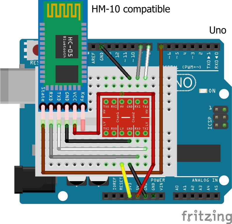 HM-10 connection diagram with a logic converter