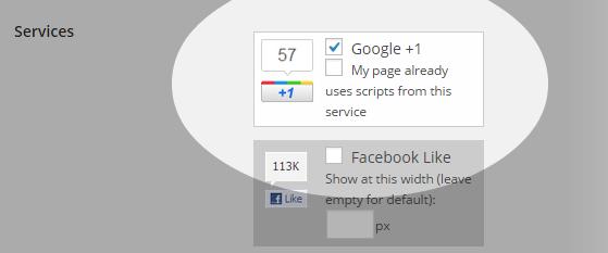 Social flottant - Paramètres - Services - sélectionné