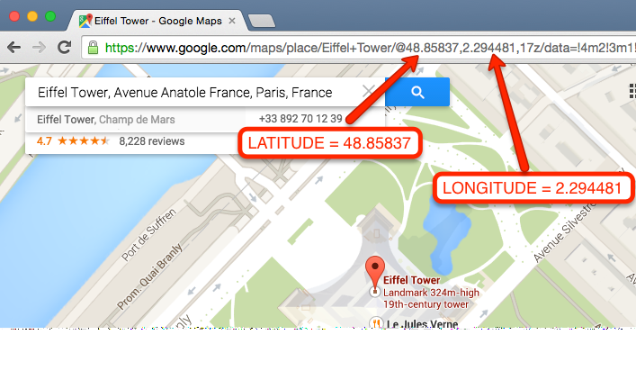 Display Lat Long In Google Maps on