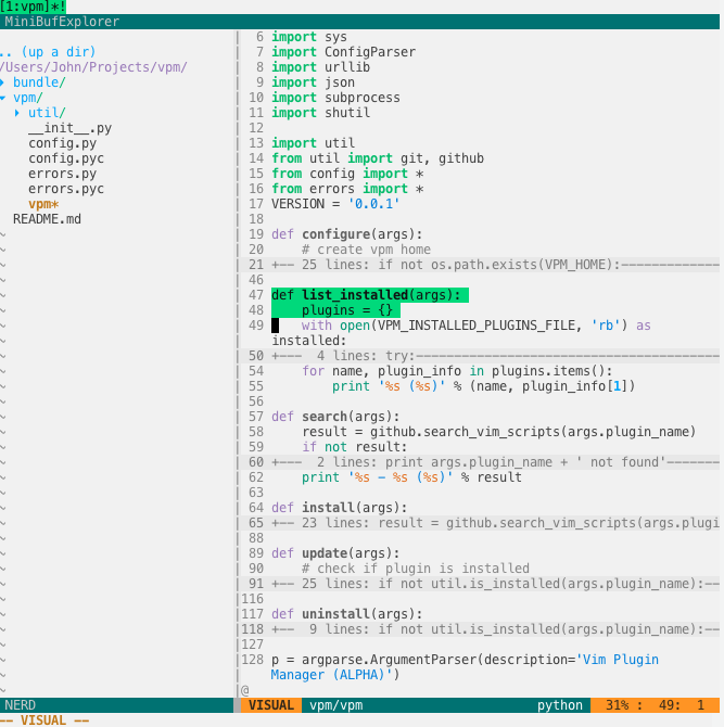 FlatUI with Python + NERDTree