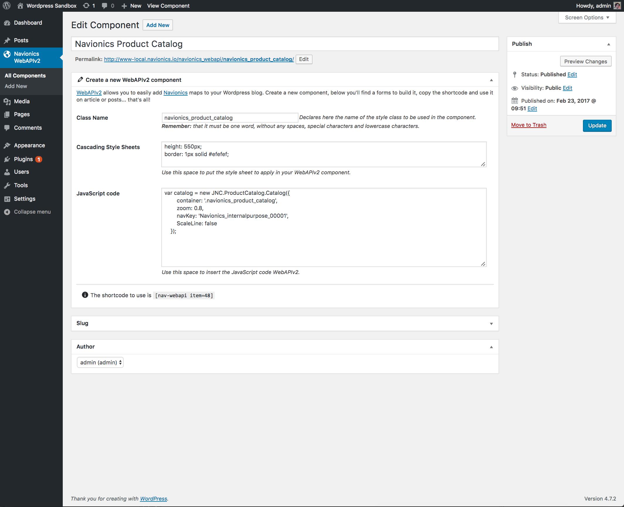 Create a new Navionics WebAPI Component