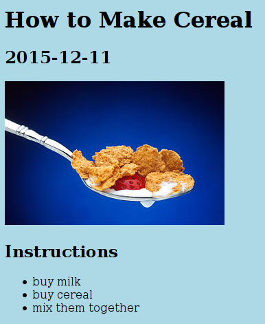 Cerealreadme at master evidlocereal github doctype html html h1how to make cerealh1 h22015 12 11h2 img srccerealg altimg deliciousli h2instructionsh2 ul libuy ccuart Gallery