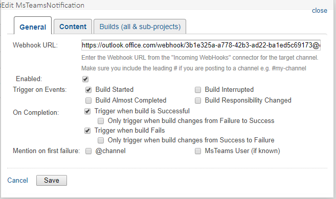 Sample Build Configuration