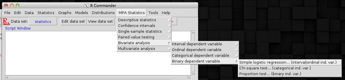 RcmdrPlugin MPAStats Screenshot