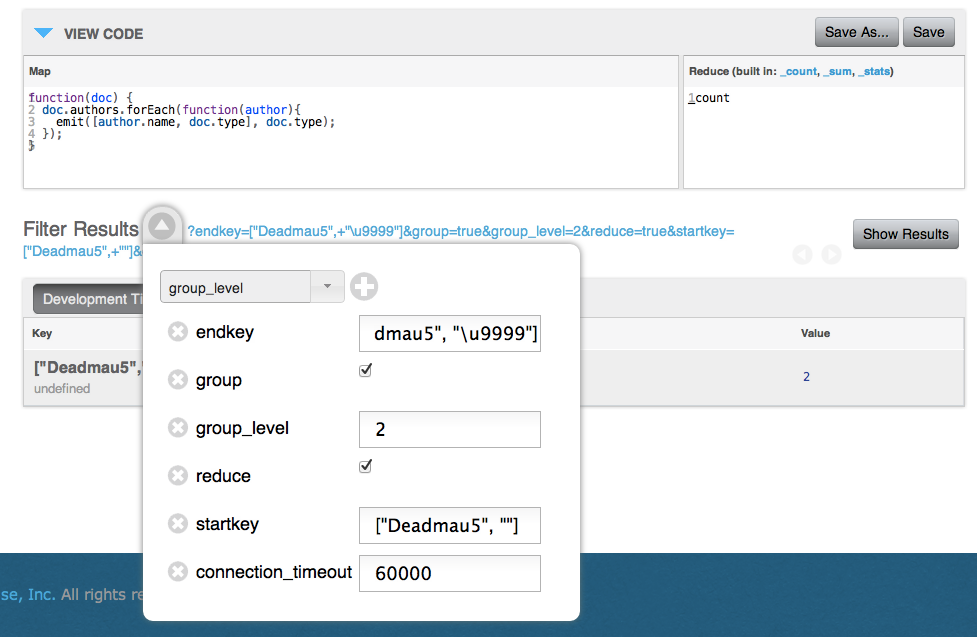Example Working in Couchbase Admin Console