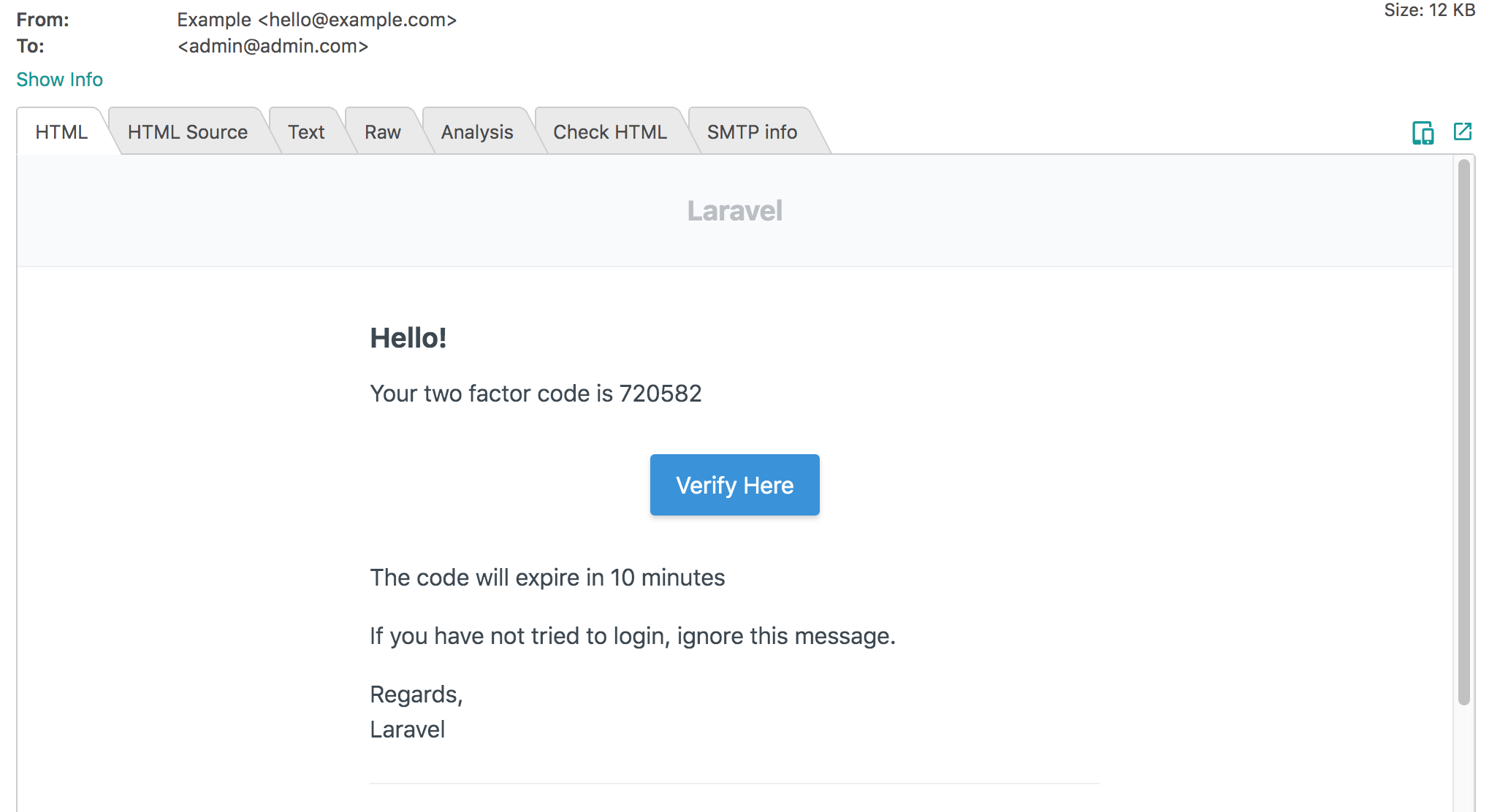 Laravel two-factor authentication email