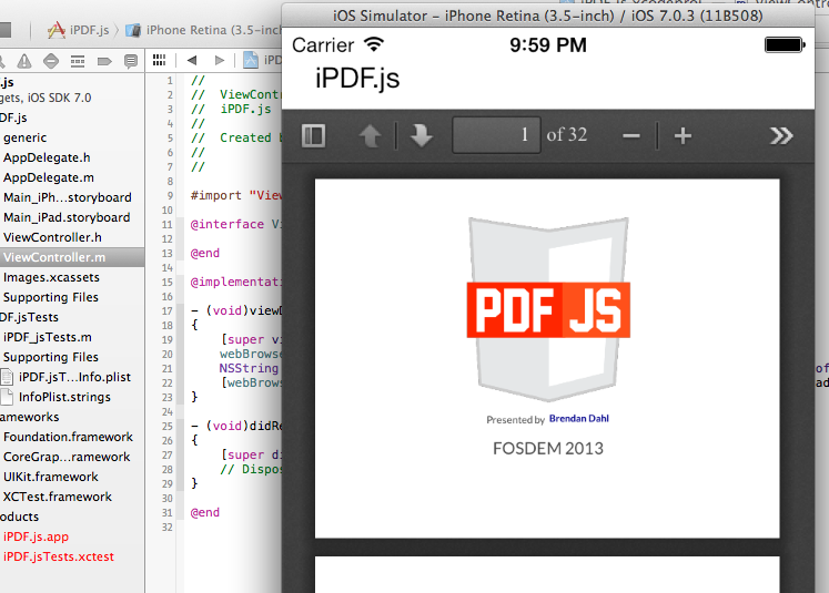 Can be use pdf js in UIWebView (ios) or WebView (android