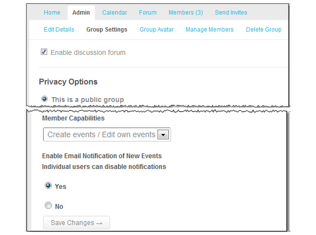 Enabling email notification of new events