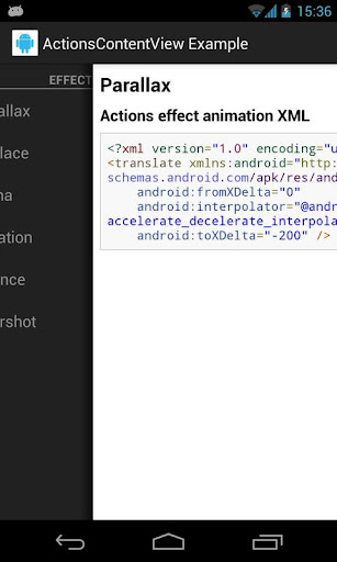 Example application looks on tablet