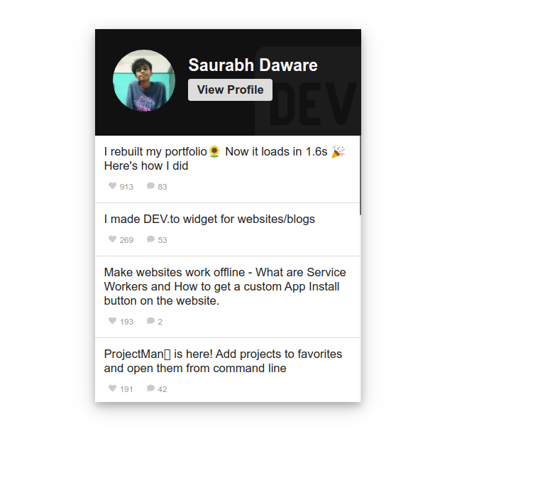 Screenshot of the DEV.to Widget