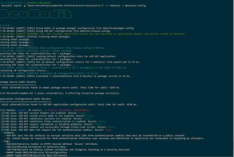Screenshot of a GitHub project audit