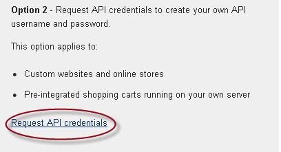 Request API credentials