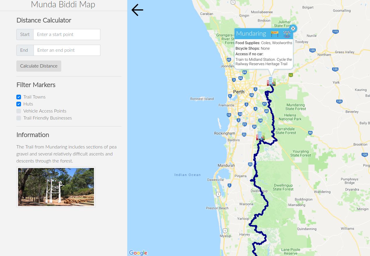 GitHub - Murrayw123/MundaBiddiMap: New Munda Biddi distance ... on map services, google miles calculator, map with miles calculation, map distance time, map world time, map area codes, map distance scale, map statistics, map distance between cities, map distance converter, map walking distance, map distance measurement tool, map of ireland with mileage, map ireland dublin and belfast, map travel, map distance ruler, map distance on map, map time zones, map india, map with miles of ireland,
