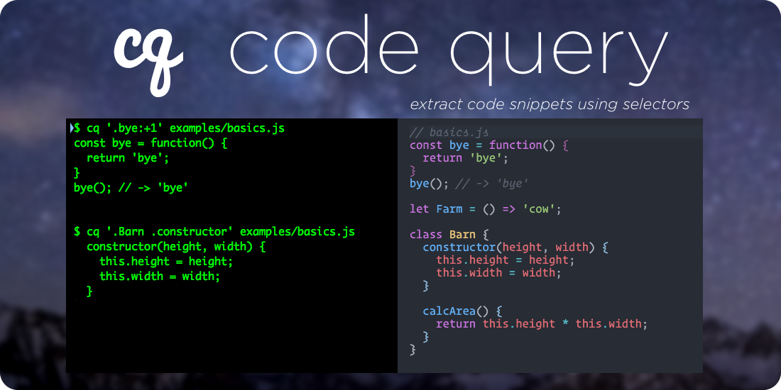 Code Query - extract code snippets using selectors