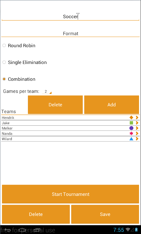 Create Tournament page