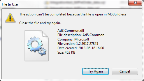 MSBuild Task Runner seems to lock assembly file · Issue #425