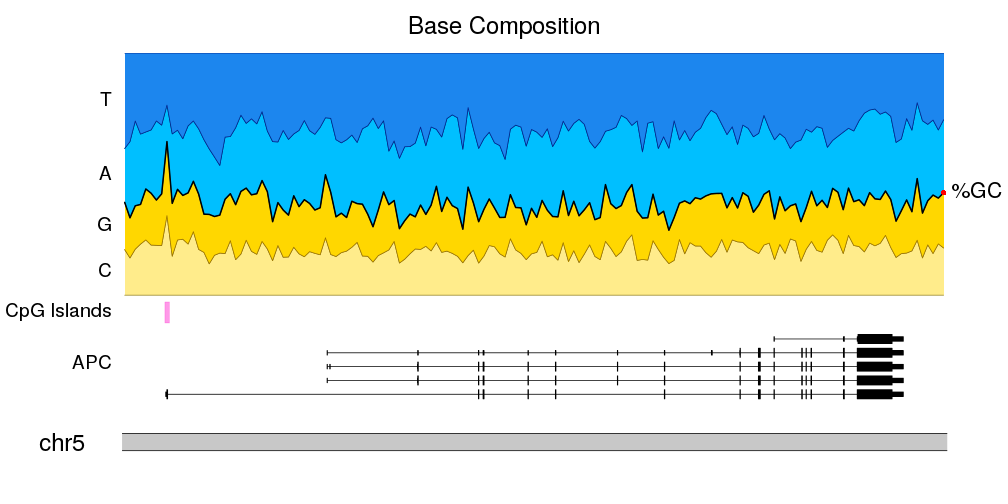 A karyoploteR example plotting the nucleotide frequency, genes and CpG-islands on a small genomic region