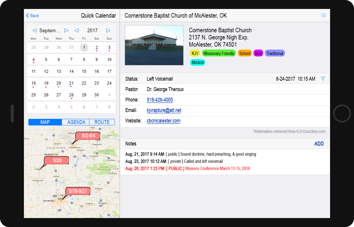 MockUp Quick Cal and Church View