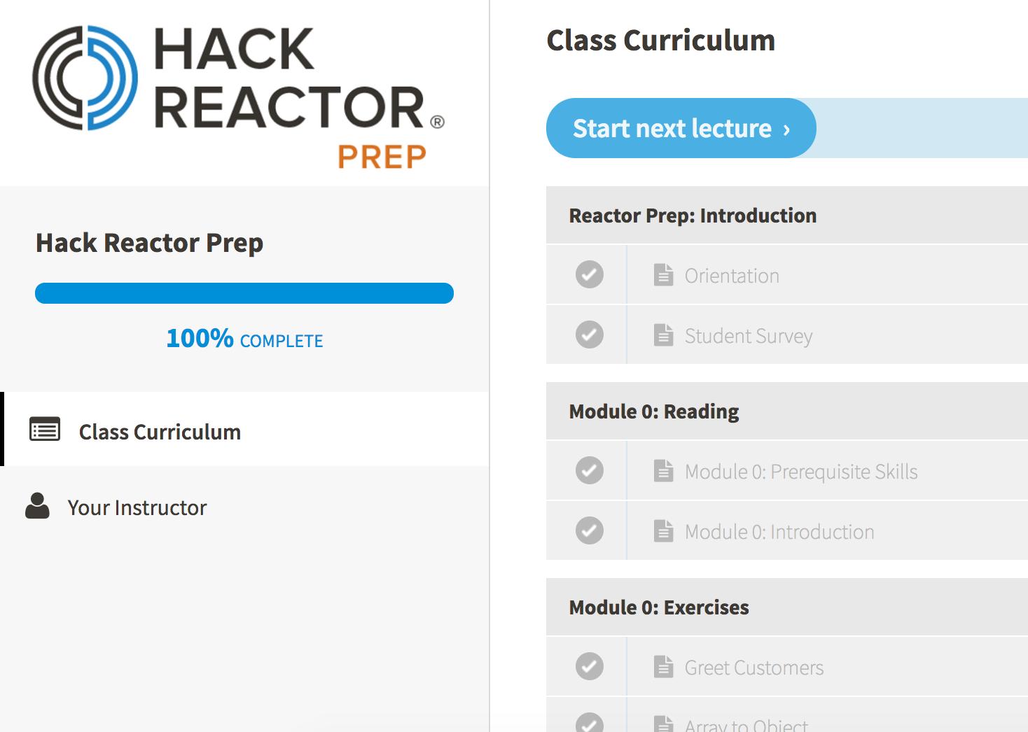 Hack Reactor Prep 100%