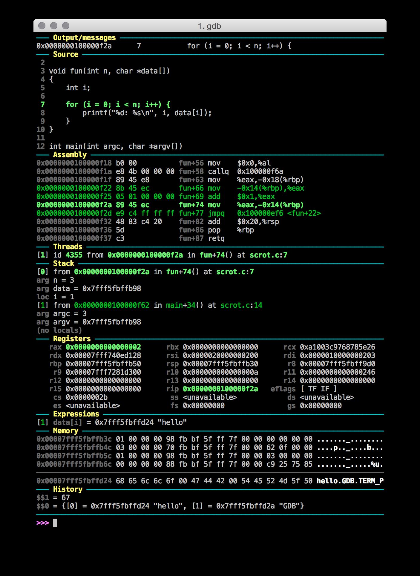 Gdb Dashboard Debug Info At A Glance Tuxdiary