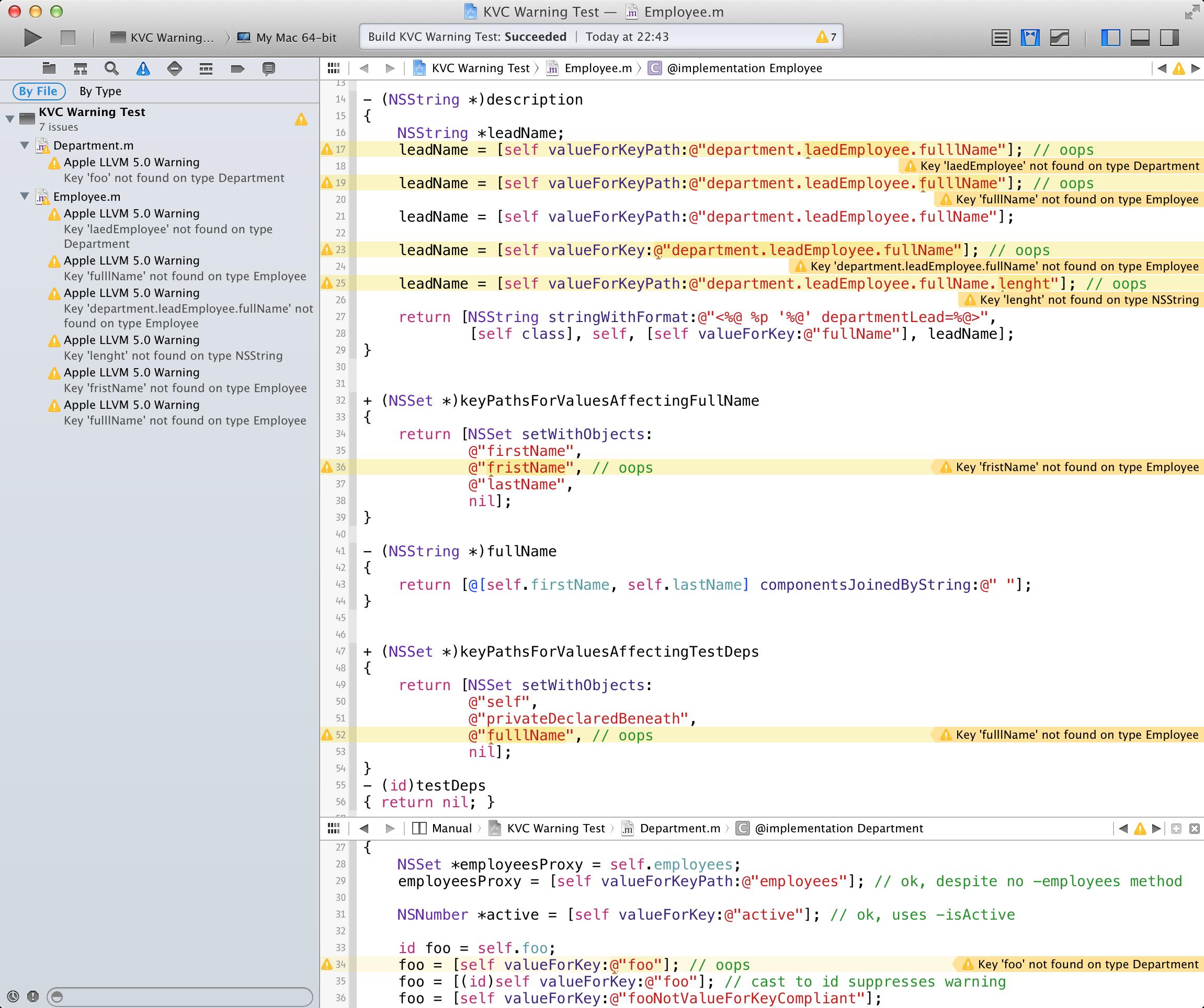 Key path warnings in Xcode