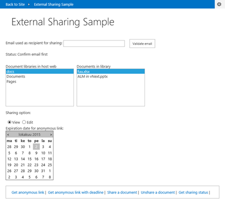 Add-in UI for sharing files