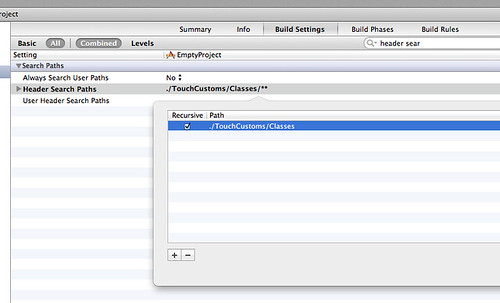Setting header path for TouchCustoms lib in xCode 4