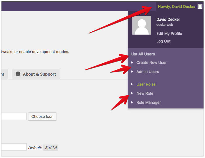 """Toolbar Extras - on the right side, add a """"User"""" Group - list roles, do administrative stuff"""
