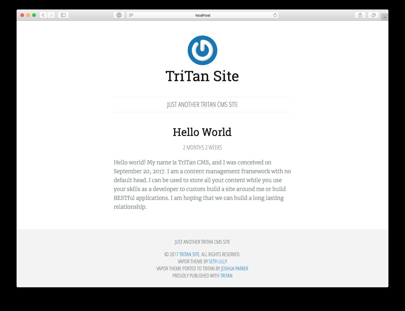 TriTan CMS Screenshot