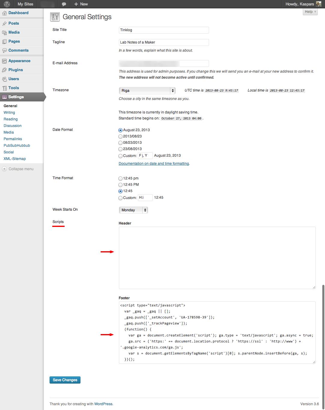 Screenshot of Script Helper plugin for WordPress