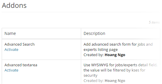 Jobs and Experts - Add-ons