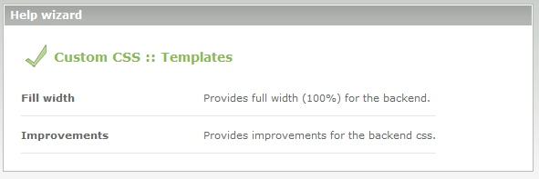 Screenshot: Wizard for templates