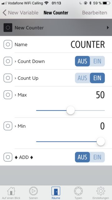 Define variable options for counter