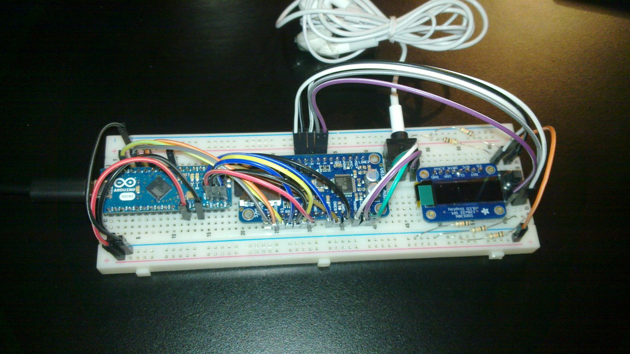 Arduino micro connected to DSP with an OLED display