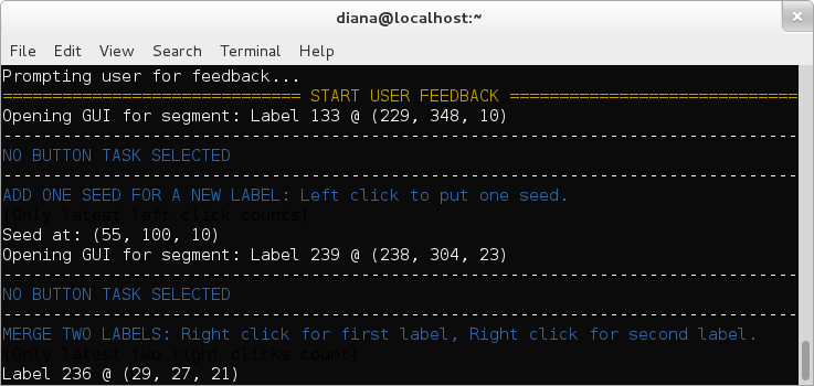 User clicks information is displayed in the terminal
