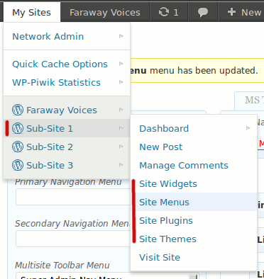 Multisite Toolbar Additions: New Sub Site/ Blog items located in the parent item for each site. (Click here for larger version of screenshot).