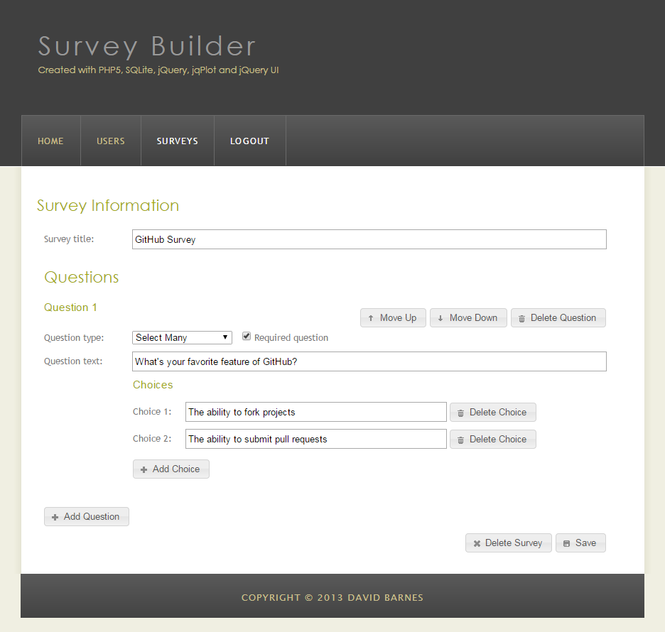 screenshot of php-survey-builder