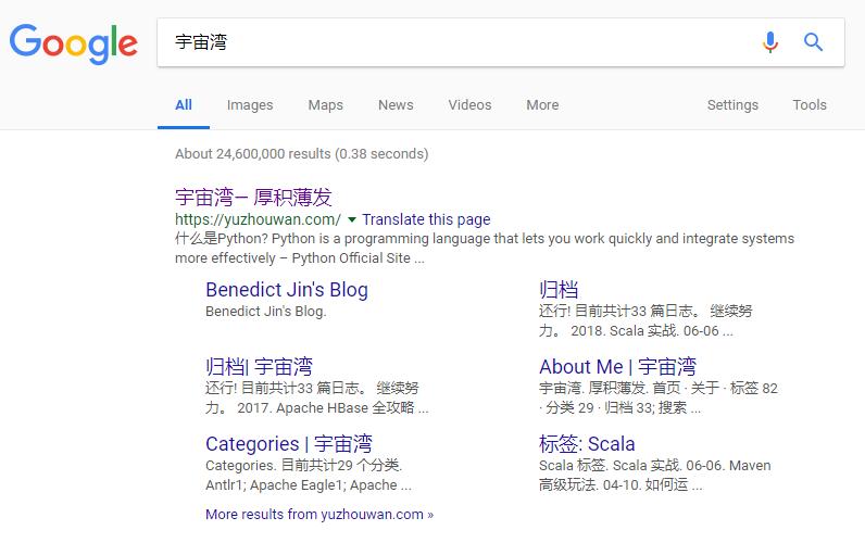 Google yuzhouwan.com