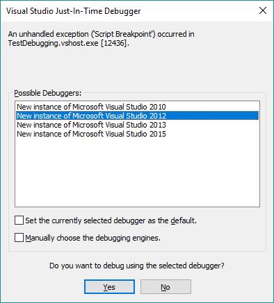 """Visual Studio Just-In-Time Debugger"" window"