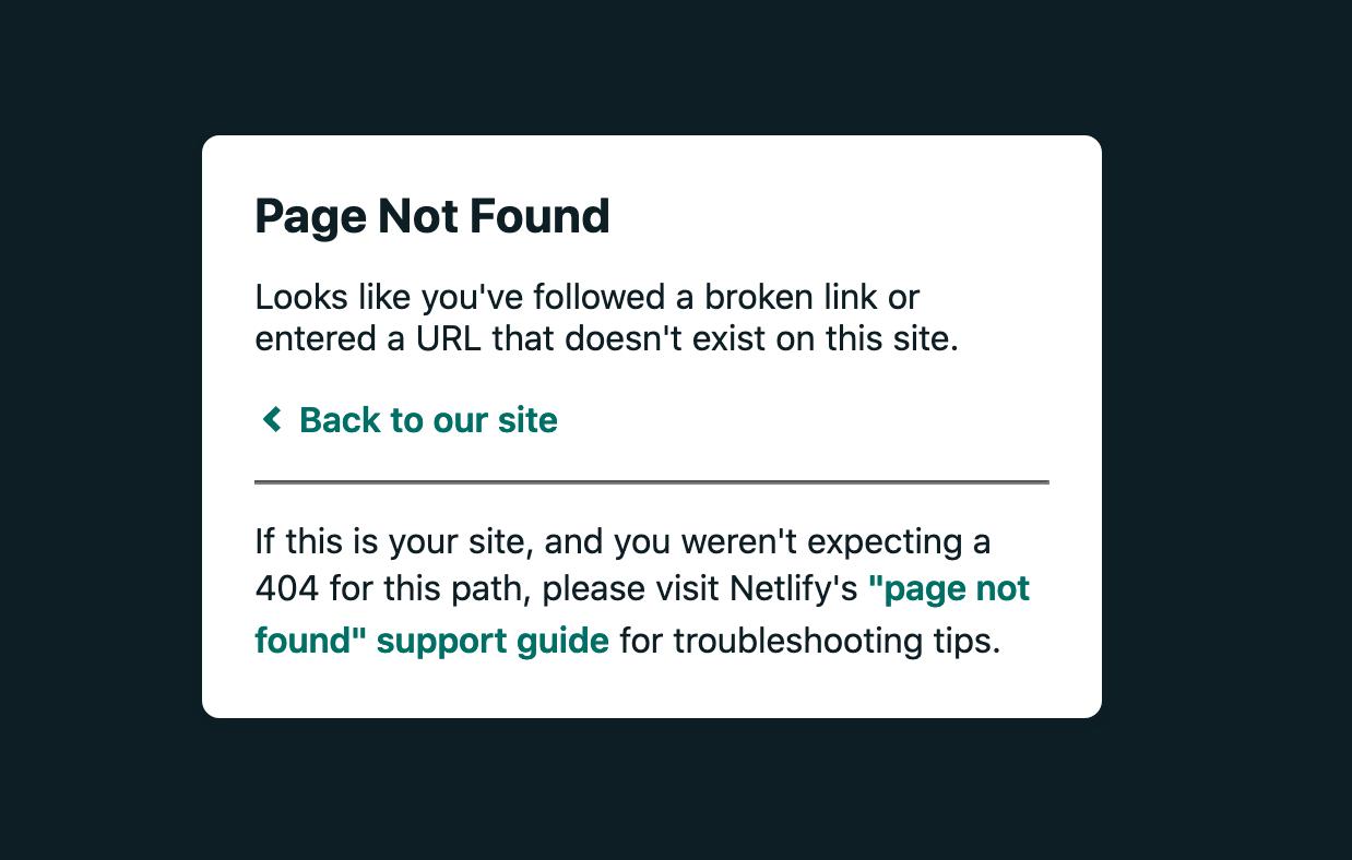 404 error page in Netlify