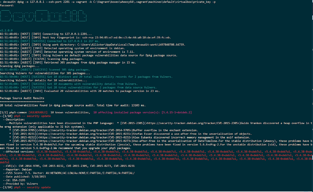 Screenshot of DevAudit Wheezy dpkg package source audit