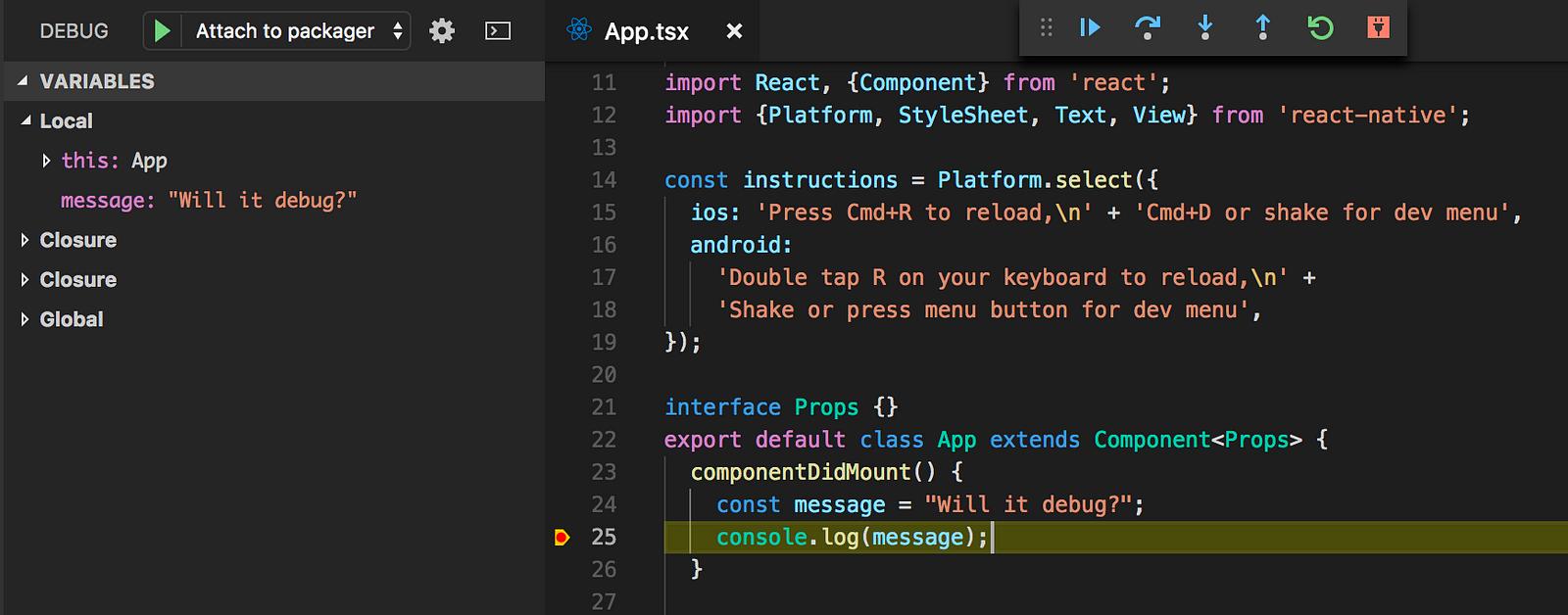 Demonstration of working breakpoints in Visual Studio Code