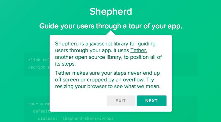 shipshapecode/shepherd - js путеводитель по вашему сайту