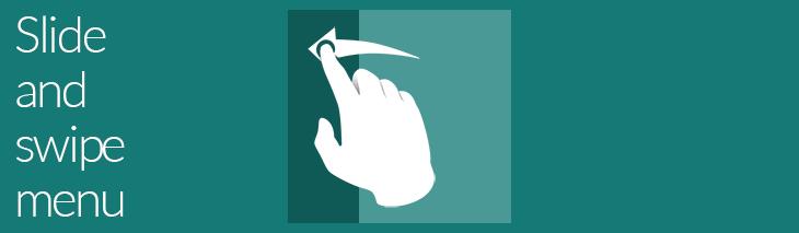 Slide and swipe menu preview