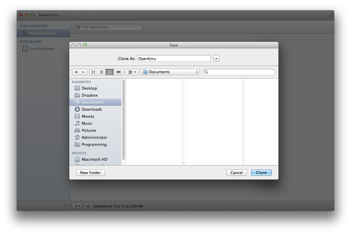 Clone in Github for Mac