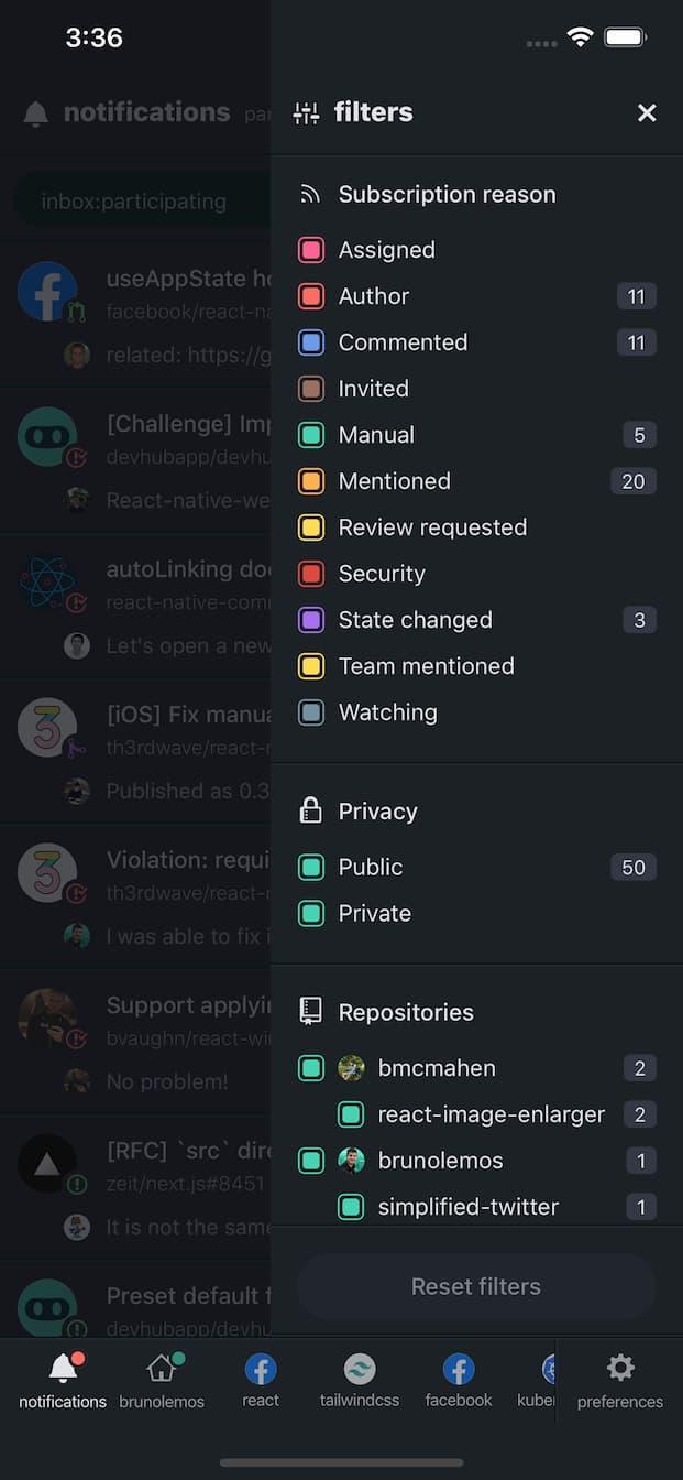 DevHub Mobile - Notification Filters