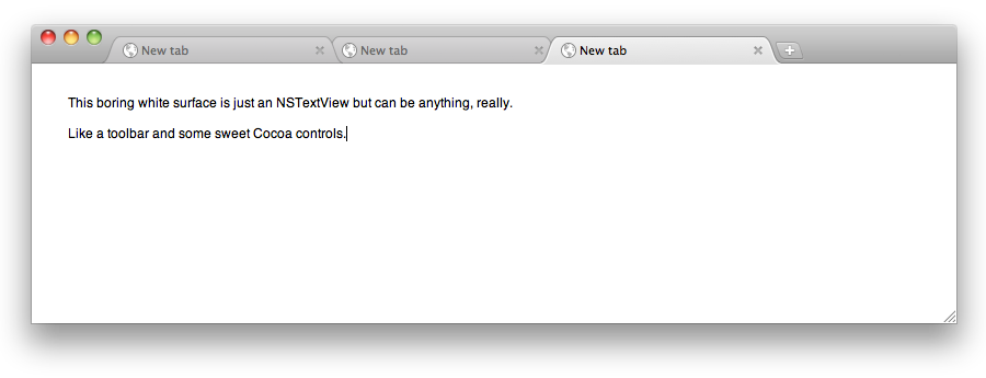 A slightly boring screenshot of the example application
